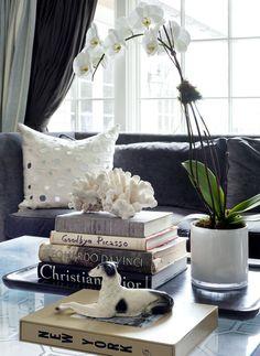 orquidea en salon, con libros y sofa