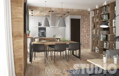Loft w Katowicach – MIKOŁAJSKAstudio Krystyna Mikołajska Modern Kitchen Interiors, Modern Interior, Interior Design, Kitchen Dining, New Homes, House Design, Living Room, Architecture, Table