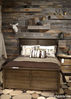 Stikwood seen at the Young America showroom, High Point Rustic Boys Bedrooms, Boys Bedroom Decor, Room Ideas Bedroom, Cabin Bedrooms, Rustic Bedroom Design, Boys Hunting Bedroom, Young Mans Bedroom, Young Boys Bedroom Ideas, Camo Rooms