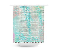 Painted Newspaper Artistic Shower Curtain - Unique in 4 sizes for any Bathroom