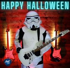 Happy Halloween! Check out our latest YouTube video to see this Storm Trooper in action! #starwars #stormtrooper #guitar #happyhalloween #halloween #ibanez