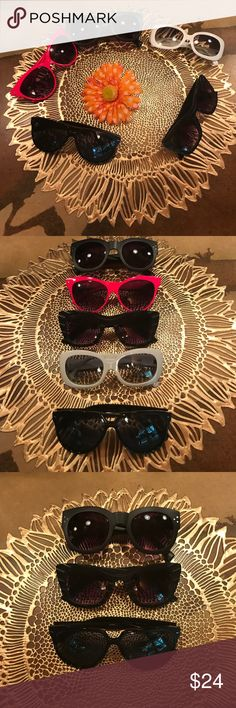 👓🕶5 bunch bundle deal 👓🕶sunglasses Funky fun retro in good used condition sunglasses. Sold as is.  In bundle. 3 black.  One pink.  One white. No name Accessories Sunglasses