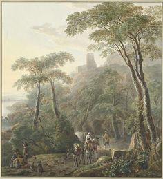 N. Lamme | Landschap met herders en melkmeisje, N. Lamme, Jacob de Heusch, 1700 - 1800 |