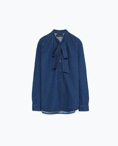 Image 8 of DENIM SHIRT WITH BOW from Zara