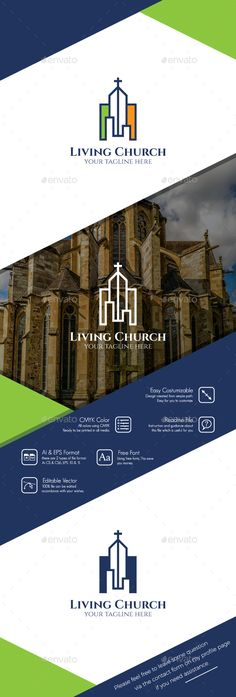 Living Church Logo by BiruMuda Feature100 Vector Fully Editable Easy Costumizable Resizable Layered Free Font CMYKFont name and download links can be found in