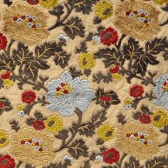 Taupe and Blue Floral Cut Velvet Upholstery Fabric - Hautehousehome.com