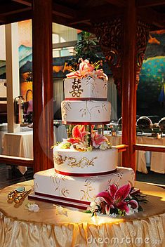 Traditional chinese wedding cake at sunset moment in a hotel, edmonton, alberta, canada