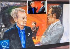 www.sixfootsophie.co.uk Sky Arts Portrait Artist of the year 2018 David Tennant Portrait with a couple of blokes in the way ! (Frank Skinner and Tai Shan Schierenberg by Sophie Appleton Artist)