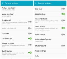 Samsung Galaxy S6 camera settings