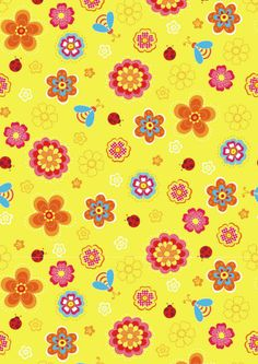 Yellow flowers and ladybugs scrapbook paper