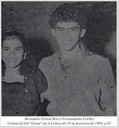 """Bernadete Pertoti Reis e Fernandinho Coelho. Coluna do Gil """"Gente"""" do A Crítica de 19 de fevereiro de 1984"""
