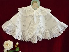 Wonderful Antique Cotton Baby Cape Brod Ang Ruffles GC.