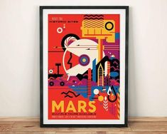 Visit the Historical sites on Mars! A great travel poster from your friends at NASA. Planning to vacation among the stars? Check out the rest of our great selection of NASA Travel posters! Need Poster Mounts. Poster Retro, Poster Art, Kunst Poster, Poster Vintage, Vintage Graphic, Print Poster, Poster Series, Space Tourism, Space Travel