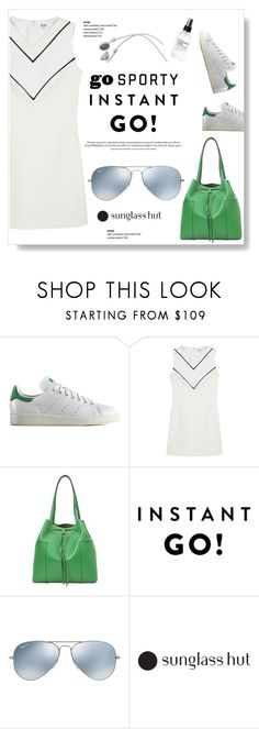 """""""Shades of You: Sunglass Hut Contest Entry"""" by viola279 ❤ liked on Polyvore featuring adidas Originals, Kenzo, Tory Burch, Lab, Ray-Ban, Fig+Yarrow, whitedress, aviatorSunglasses, whitesneakers and sportystyle"""