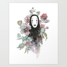 Spirited Away No-Face Floral Print - $15 - Gifts for Studio Ghibli Fans!                                                                                                                                                                                 More