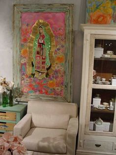 Multimedia Our Lady of Guadalupe Catholic Art, Religious Art, Home Altar, Fresco, Mexican Folk Art, Mexican Style, Blessed Mother, Sacred Art, Christian Art