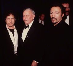 Bob Dylan and Bruce Springsteen attenting Frank Sinatra's 80th birthday party in 1995
