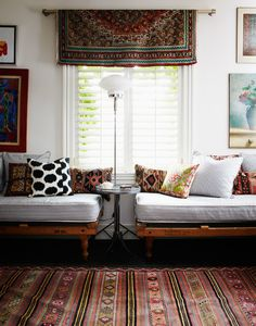 daybed, & rug as a valance...photographed by angus fergusson - maybe with a square of block print fabric, folded diagonally