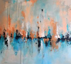 Original Abstract Painting Blue Bronze Palette by AbstractArtM, $620.00