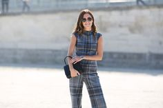 Every Must-See Street Style Look From Paris Fashion Week #refinery29  http://www.refinery29.com/2015/10/95202/paris-fashion-week-spring-2016-street-style-pictures#slide-21  A plaid jumpsuit makes a statement, even with minimal accessories....