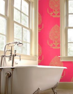 Neon pink walls with stencil details - Nice old world touch to a modern space this could be!  This would be so cute in Lilly's bathroom.