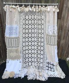Shower Curtain Shabby Nordic Chic Cottage Chic Bathroom Decor Home Decor Vintage Crochet Vintage Lace Vintage Embroidery Doilies