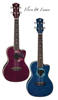Flora & Fauna - Intricate, colorful, alive... Luna's colorful concert cutaway Dolphin and Flora ukuleles add fun and lively style all by themselves.