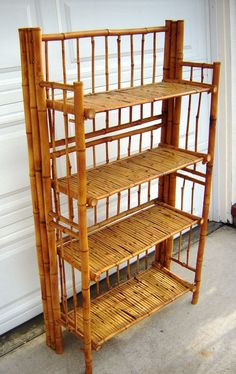 Burnt Bamboo Book Case Plant  Shelf Tropical Antique Tortoise Rattan Hawaiian