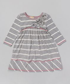 Another great find on #zulily! Heather Gray & Off-White Babydoll Dress - Toddler & Girls by Pink Vanilla #zulilyfinds