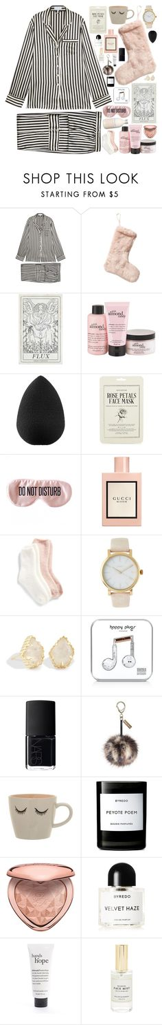 """""""#PolyPresents: Stocking Stuffers"""" by douxlaur ❤ liked on Polyvore featuring Olivia von Halle, Nordstrom Rack, philosophy, beautyblender, Kocostar, BaubleBar, Gucci, Lemon, Timex and Kendra Scott"""