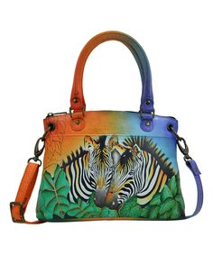 45a4bf19f9 Women s ANNA by Anuschka Hand Painted Leather Small Satchel 8252 - Zebra  Safari Casual Handbags