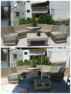Pallet Furniture For Roof Terrace #Garden, #PalletLounge, #PalletTerrace, #RecycledPallet