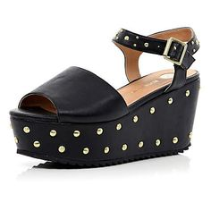 Black studded flatform sandals - shoes / boots - sale - women