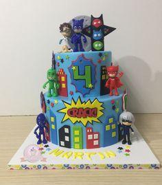 5th Birthday, Birthday Parties, Birthday Cake, Torta Pj Mask, Pjmask Party, Festa Pj Masks, Cupcakes, Paper Cake, Bakery