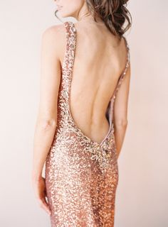 Rose gold plunging backless gown: http://www.stylemepretty.com/2016/02/01/25-gowns-wed-rock-during-award-season/