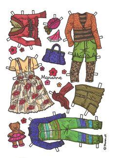 Karen`s Paper Dolls: Marianne 1-6 Paper Doll in Colours. Påklædningsdukke Marianne 1-6 i farver.
