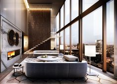 Double height lounge of the Collins House penthouse we visualised for Golden Ages new development in Melbourne's CBD. Building…