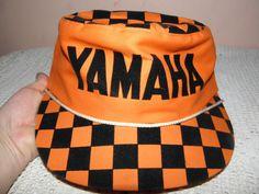 Vintage Painter's Cap Hat Black Velvet Bright Neon Fluorescent Orange YAMAHA