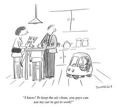 Mommy you can drive my no-emissions car ~ Liza Donnelly for MCAF