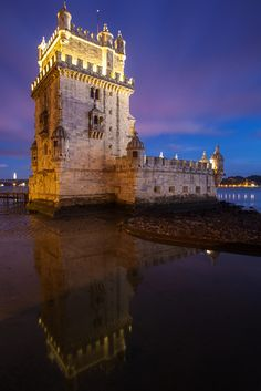 The Belém Tower at sunset,  Lisbon, Portugal