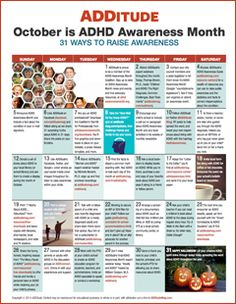 2014 ADHD Awareness Month Calendar: 31 Ways to Stand Up and Speak Out About ADHD --- One idea a day for raising consciousness about ADHD during October's ADHD Awareness Month.