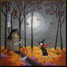 Pit Stop A Small Halloween Outhouse Witch Jack O Lanterns Print By Deborah Gregg Pit Stop An Small Halloween Outhouse Witch Jack O By Chicoryskies Halloween Painting, Halloween Prints, Halloween Art, Vintage Halloween, Halloween Pumpkins, Halloween Witches, Vintage Witch, Halloween Night, Halloween Makeup