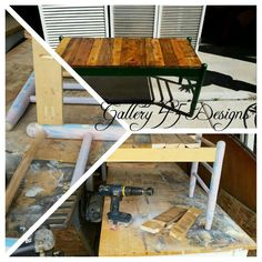 This cute little bench was made with 2 sets of front chair legs and some pallet wood.