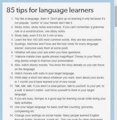 85 tips for sproglørnere 85 tips for language learners Korean Language Learning, Learning Spanish, Learning Italian, Foreign Language, Spanish Language, German Language, Spanish Activities, Dual Language, Italian Language