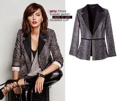 """AVON Mark. Tipping The Scales Jacket  • Shell: 60% cotton/37% olyester/3% spandex. Lining; 100% polyester. Trim: 98% polyester/2% spandex. • 24"""" L from center back to hem (on medium) • Imported Available at http://www.youravon.com/jennifergagnon   $56"""