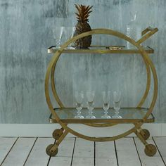 Graham & Green - Antique Brass Circle Drinks Trolley