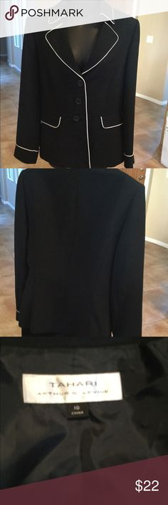 Tabard Suit Jacket Lovely like new black with white trim suit jacket Tahari Jackets & Coats Blazers