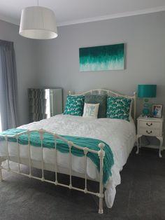 Master bedroom in teal