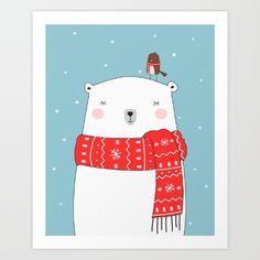 Cute illustration in christmas colors of a polar bear and a little bird. Wonderful design for home decoration.<br/> <br/> christmas card, winter, polar bear, home decoration, snow, christmas, bird, cartoon