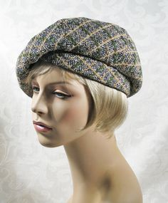 Vintage Hat 1950s 50s Wool Plaid Tweed Turban Beret by Miss Schiaparelli